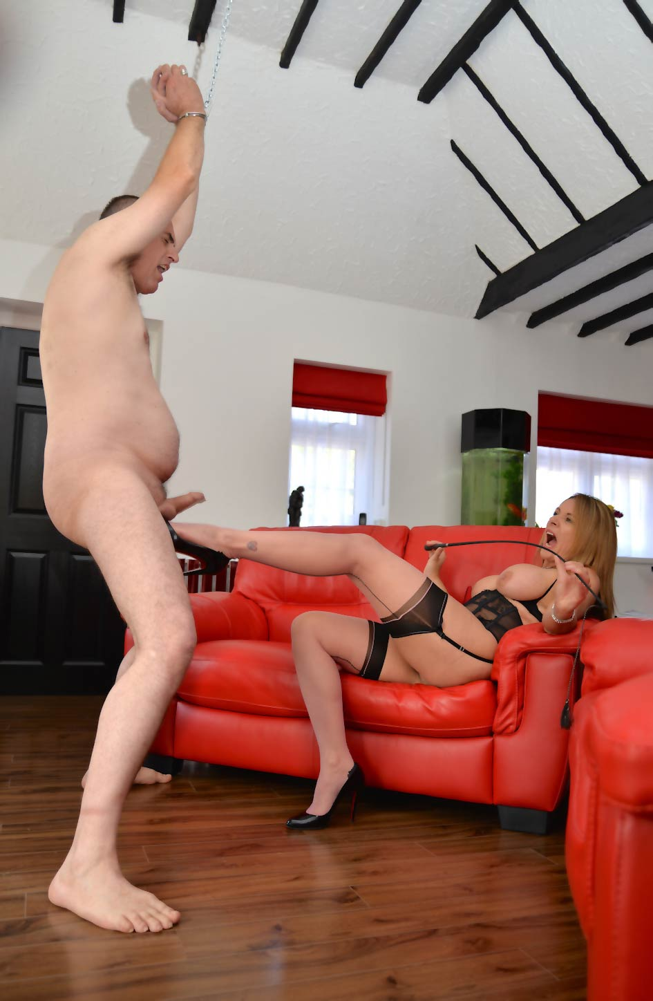 Book a Ball Busting with Mistress Carly at her dungeon located in Ashford, Kent.